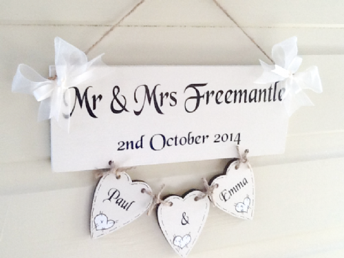 Personalised Ivory Wedding Hanging Heart Keepsake